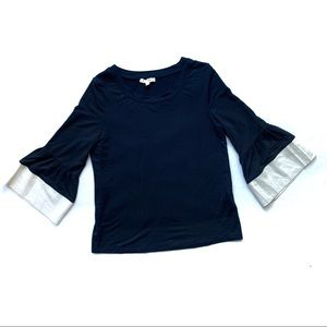 Jane and Delancey Black 3/4 Length Bell Sleeve Top
